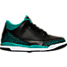 Right view of Girls' Preschool Jordan Retro 3 Basketball Shoes in Black/Metallic Gold/Rio Teal/White