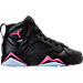 Right view of Girls' Grade School Air Jordan Retro 7 (3.5y-9.5y) Basketball Shoes in Black/Hyper Pink