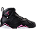 Right view of Girls' Preschool Jordan Retro 7 Basketball Shoes in Black/Vivid Pink