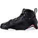 Left view of Girls' Preschool Jordan Retro 7 Basketball Shoes in Black/Vivid Pink