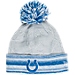 Front view of Women's New Era Indianapolis Colts NFL Snow Crown Redux Knit Hat in Gray