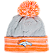 Front view of Women's New Era Denver Broncos NFL Snow Crown Redux Knit Hat in Gray