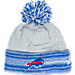Front view of Women's New Era Buffalo Bills NFL Snow Crown Redux Knit Hat in Gray