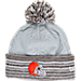 Front view of Women's New Era Cleveland Browns NFL Snow Crown Redux Knit Hat in Gray