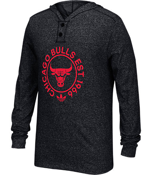 Men's adidas Chicago Bulls NBA Hooded Henley Shirt