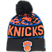 Front view of New Era New York Knicks NBA Winter Freeze Pom Cuffed Knit Hat in Team Colors