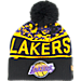Front view of New Era Los Angeles Lakers NBA Winter Freeze Pom Cuffed Knit Hat in Team Colors