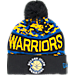 Front view of New Era Golden State Warriors NBA Winter Freeze Pom Cuffed Knit Hat in Team Colors