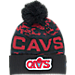 Front view of New Era Cleveland Cavaliers NBA Winter Freeze Pom Cuffed Knit Hat in Team Colors