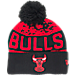 Front view of New Era Chicago Bulls NBA Winter Freeze Pom Cuffed Knit Hat in Team Colors