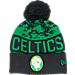 Front view of New Era Boston Celtics NBA Winter Freeze Pom Cuffed Knit Hat in Team Colors