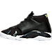 Left view of Boys' Grade School Air Jordan Retro 14 Basketball Shoes in Black/White/Vivid Green