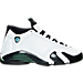 Right view of Boys' Grade School Air Jordan Retro 14 Basketball Shoes in White/Black/Oxidized Green/Blue