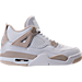 Right view of Girls' Grade School Air Jordan Retro 4 (3.5y-9.5y) Basketball Shoes in White/Boarder Blue/Light Sand
