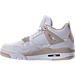 Left view of Girls' Grade School Air Jordan Retro 4 (3.5y-9.5y) Basketball Shoes in White/Boarder Blue/Light Sand