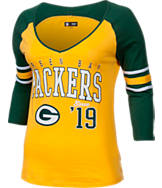Women's New Era Green Bay Packers NFL 3/4 Baby Raglan Jersey T-Shirt