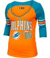 Women's New Era Miami Dolphins NFL 3/4 Baby Raglan Jersey T-Shirt