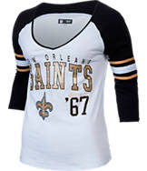 Women's New Era New Orleans Saints NFL 3/4 Baby Raglan Jersey T-Shirt