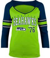 Women's New Era Seattle Seahawks NFL 3/4 Baby Raglan Jersey T-Shirt