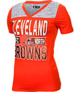 Women's New Era Cleveland Browns NFL Short Sleeve Crossover V-Neck T-Shirt