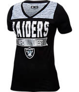 Women's New Era Oakland Raiders NFL Short Sleeve Crossover V-Neck T-Shirt