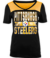 Women's New Era Pittsburgh Steelers NFL Short Sleeve Crossover V-Neck T-Shirt