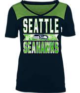 Women's New Era Seattle Seahawks NFL Short Sleeve Crossover V-Neck T-Shirt