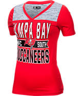 Women's New Era Tampa Bay Buccaneers NFL Short Sleeve Crossover V-Neck T-Shirt