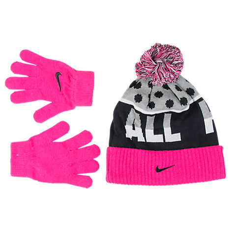 Nike Attitude Beanie and Glove Girls Set