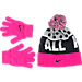 Front view of Girls' Nike Attitude Beanie and Glove Set in Vivid Pink/Black