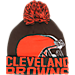 Front view of New Era Cleveland Browns NFL Colossal Team Knit Hat in Team Colors