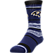 Front view of For Bare Feet Baltimore Ravens NFL RMC Stripe Socks in Charcoal/Team