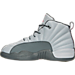 Left view of Girls' Preschool Jordan Retro 12 Basketball Shoes in Wolf Grey/Vivid Pink/Cool Grey