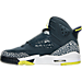Left view of Boys' Grade School Air Jordan Son of Mars Basketball Shoes in Armory Navy/Electric Lime