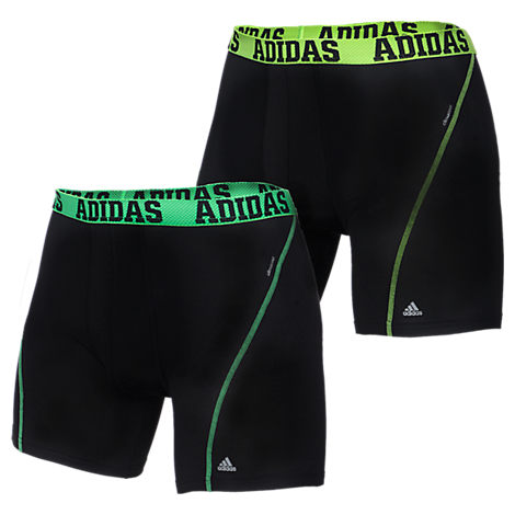 Adidas Mens ClimaCool Boxer Briefs 2-Pack (Black, Black/Green/Yellow, or Urban/Blue)