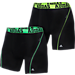 Front view of Men's adidas ClimaCool 2-Pack Boxer Briefs in Black/Green/Black/Yellow