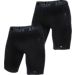 Front view of Men's adidas ClimaCool 2-Pack 9 Inch Midway Briefs in Black/Thunder
