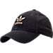 Front view of Women's adidas Originals Relaxed Plus Denim Strapback Hat in Black Denim/Gold