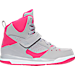 Right view of Girls' Preschool Jordan Flight 45 High Basketball Shoes in Wolf Grey/Vivid Pink