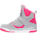 Left view of Girls' Preschool Jordan Flight 45 High Basketball Shoes in Wolf Grey/Vivid Pink