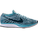 Right view of Unisex Nike Flyknit Racer Running Shoes in White/Legion Blue/Mica Blue