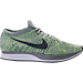 Right view of Unisex Nike Flyknit Racer Running Shoes in White/Cool Grey/Ghost Green