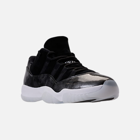 Three Quarter view of Men's Air Jordan Retro 11 Low Basketball Shoes in Black/White/Metallic Silver