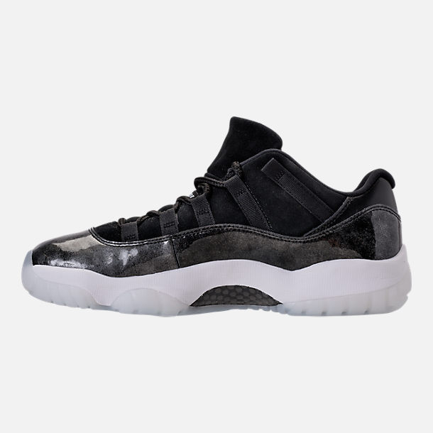 Left view of Men's Air Jordan Retro 11 Low Basketball Shoes in Black/White/Metallic Silver