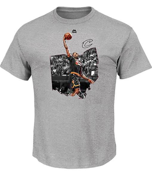 Men's Majestic Cleveland Cavaliers NBA LeBron James Bigger Prize T-Shirt