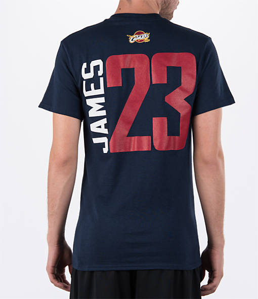 Men's Majestic Cleveland Cavaliers NBA LeBron James Name and Number T-Shirt
