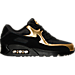 Right view of Men's Nike Air Max 90 Essential Running Shoes in Black/Metallic Gold