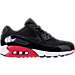 Right view of Men's Nike Air Max 90 Essential Running Shoes in Black/Gym Red/White