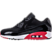 Left view of Men's Nike Air Max 90 Essential Running Shoes in Black/Gym Red/White