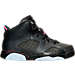Right view of Girls' Preschool Air Jordan Retro 6 Basketball Shoes in Anthracite/Black/Hyper Pink
